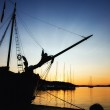 Port in the sunset — Stock Photo