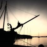 Sepia nautical sunset — Stock Photo