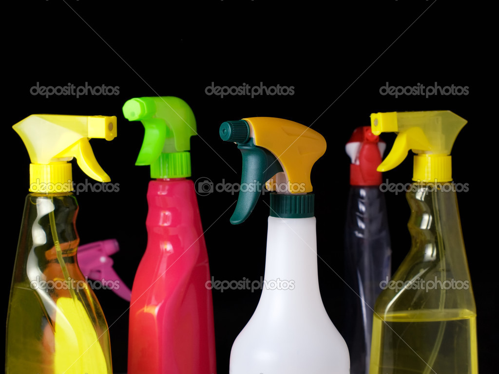 Cleaning spray bottles isolated on a black background. — Stock Photo #2730263