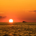 Fishing sunset — Stock Photo