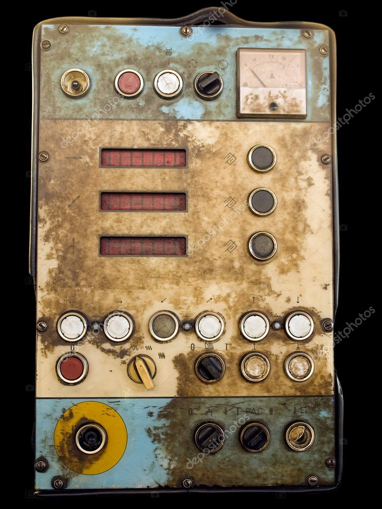 Retro control panel for devices , tools or machinery in an old factory — Stock Photo #3442508