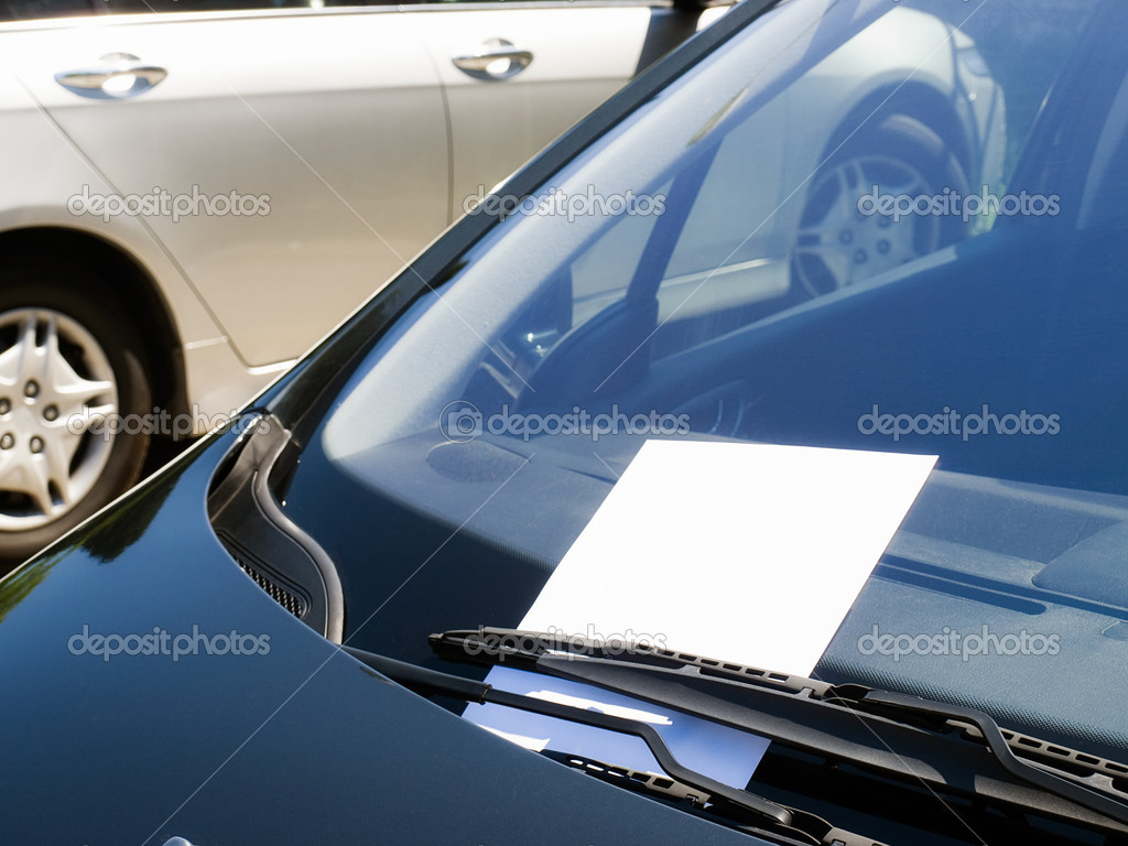 Blank space on the paper  under the wipers of car, where you can put your text. — Stock Photo #3720169