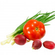 Постер, плакат: Onions tomatoes and radishes