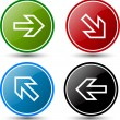 Glossy colorful buttons with arrows — Stock Vector