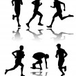 Stock Vector: Running silhouettes