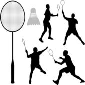 Badminton silhouettes — Stock Vector
