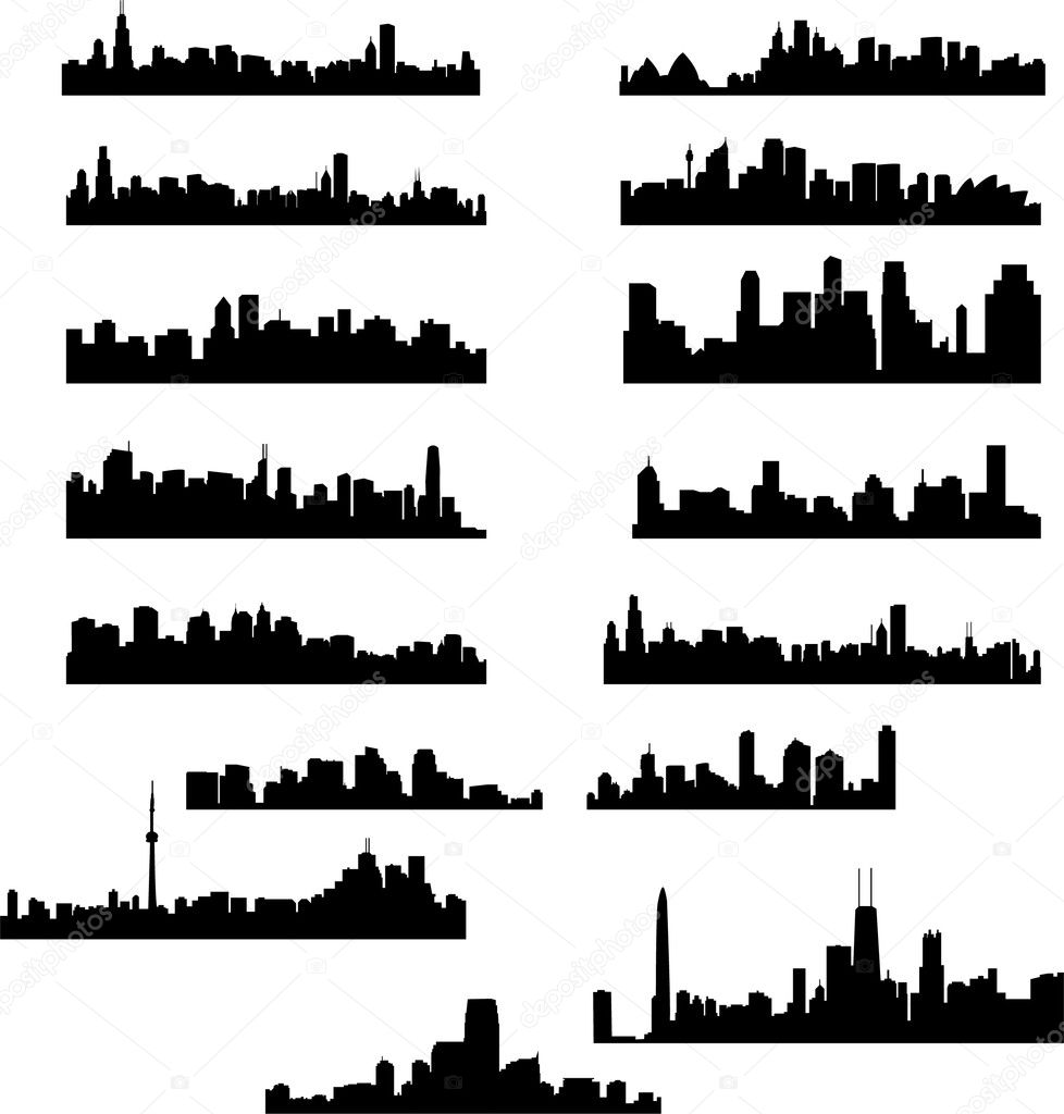 City skylines collection - vector — Stockvectorbeeld #2686874