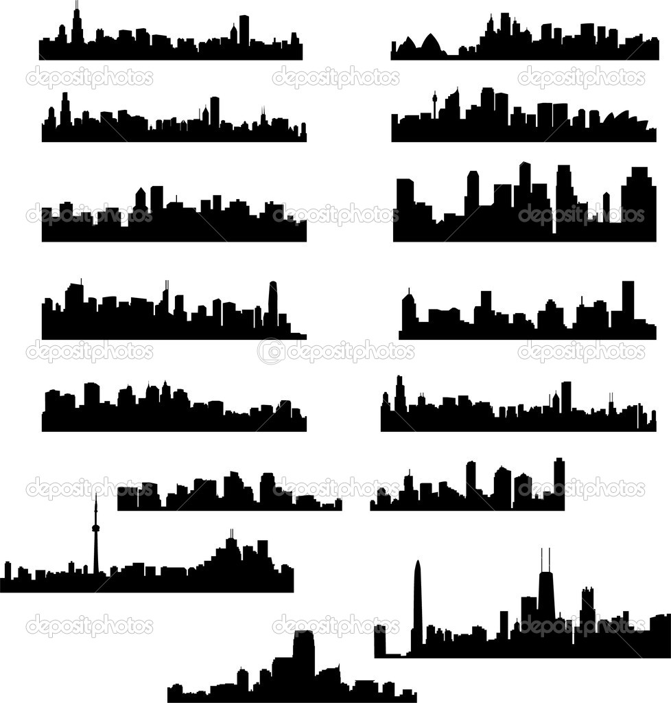 City skylines collection - vector — Imagens vectoriais em stock #2686874