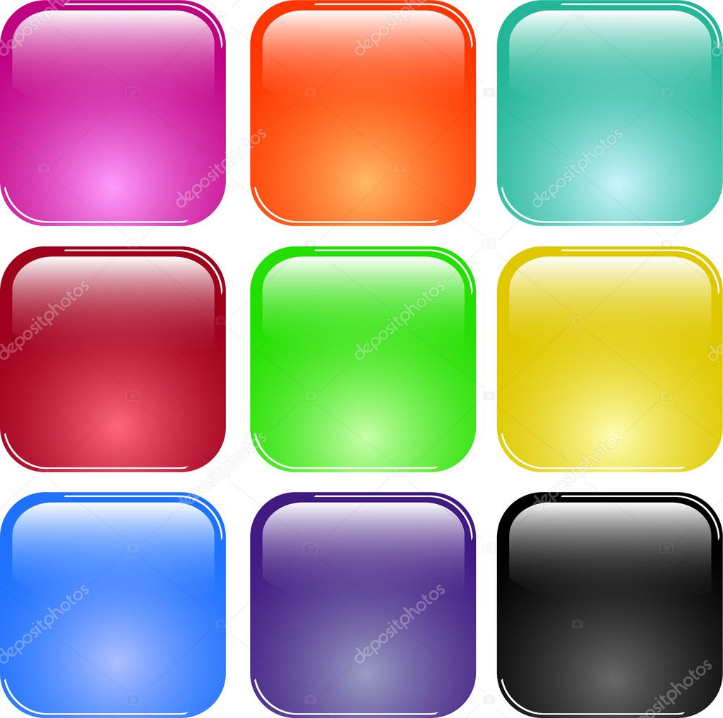 Colorful shiny glass buttons - vector — Stock Vector #2697737