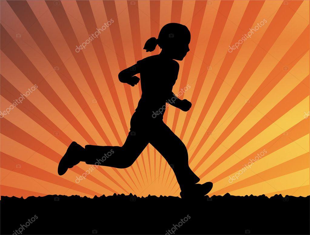 Girl running away silhouette