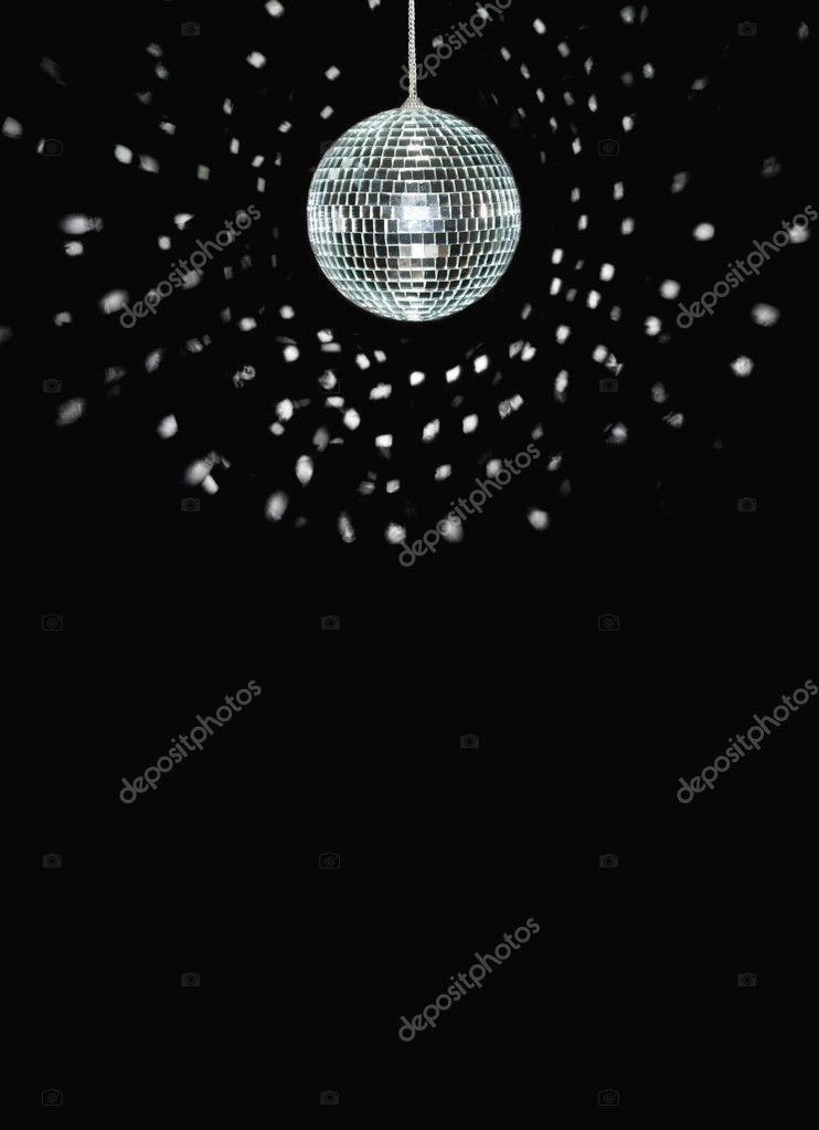 Spinning discoball, over black background, space for text — Stock Photo #3873696