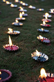 Diwali Lamps Lawn — Stock Photo