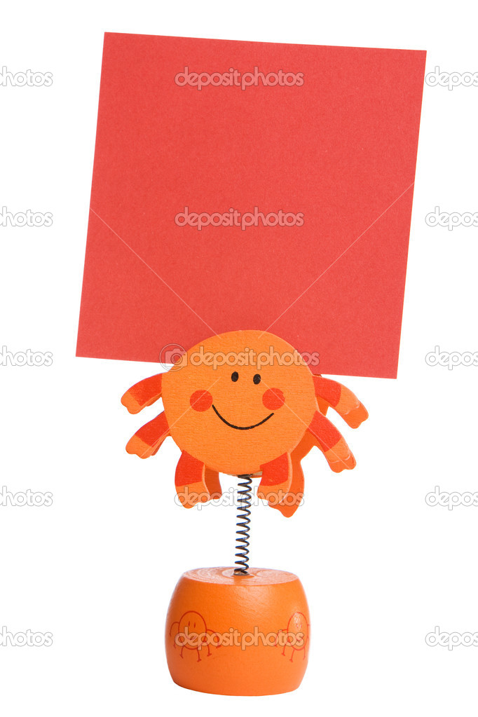 Orange memo holder isolated on white background — Foto Stock #3065832