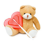 Bear toy with heart — Stock Photo