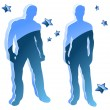 Royalty-Free Stock Vector Image: Sexy boy blue silhouettes with stars.