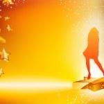 Девушка танцует на звезды желтый флаер — Cтоковый вектор