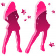 Glossy Pink Women Silhouettes with Stars — Stock Vector #2884967