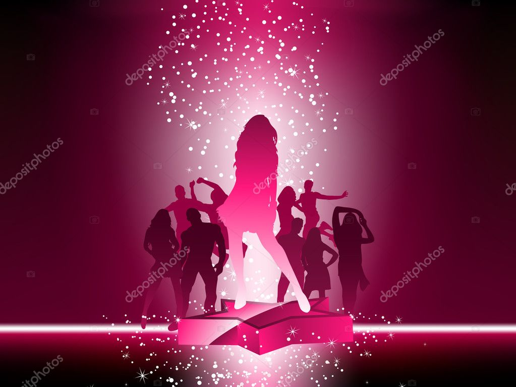 Party Crowd Dancing Star Pink Flyer. Editable Vector Image — Stock Vector #2884952