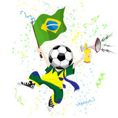 Brazilian Soccer Fan with Ball Head. — Stock Vector