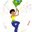 Royalty-Free Stock Vectorielle: Black Girl Brazil Soccer Fan with flag.