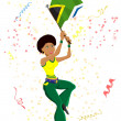 Royalty-Free Stock Vectorielle: Black Girl South Africa Soccer Fan