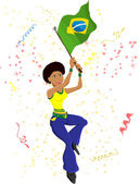 Black Girl Brazil Soccer Fan with flag. — Stock Vector