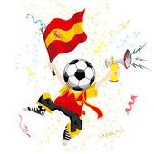 İspanya futbol fan topu kafa ile. — Stok Vektör
