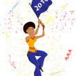 Black Girl Soccer Fan with 2010 flag. — Imagen vectorial