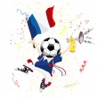 France Soccer Fan with Ball Head. — Stock Vector