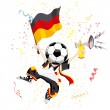 German Soccer Fan with Ball Head — Stock Vector