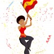 Black Girl Spain Soccer Fan with flag. — Imagen vectorial
