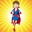 Super Woman Mother Cartoon Background — Stock Vector