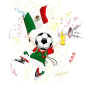 Mexico Soccer Fan with Ball Head — Stock Vector
