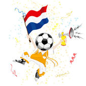 Dutch Soccer Fan with Ball Head — Stock Vector