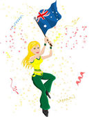 Australia Soccer Fan with flag — Stockvektor