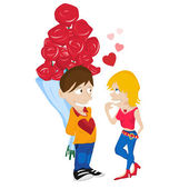 Young Couple in Love. — Stock Vector