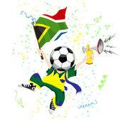 ボールを頭の南アフリカ共和国サッカー ファン. — ストックベクタ