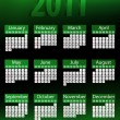 Royalty-Free Stock Vector Image: 2011 Glowing Neon Green Calendar.