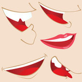 Set of 5 cartoon mouths. — Stock Vector