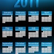 2011 Glowing Neon Blue Calendar. — Stock Vector #3259573