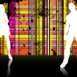 Sexy couple silhouettes in front of striped background. — Imagen vectorial