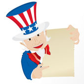 Uncle Sam Holding Sign. — Stock Vector