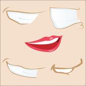 Set of 5 cartoon mouths. — Stock Vector