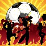 Huge Crowd Celebrating Soccer Game. — Stock Vector