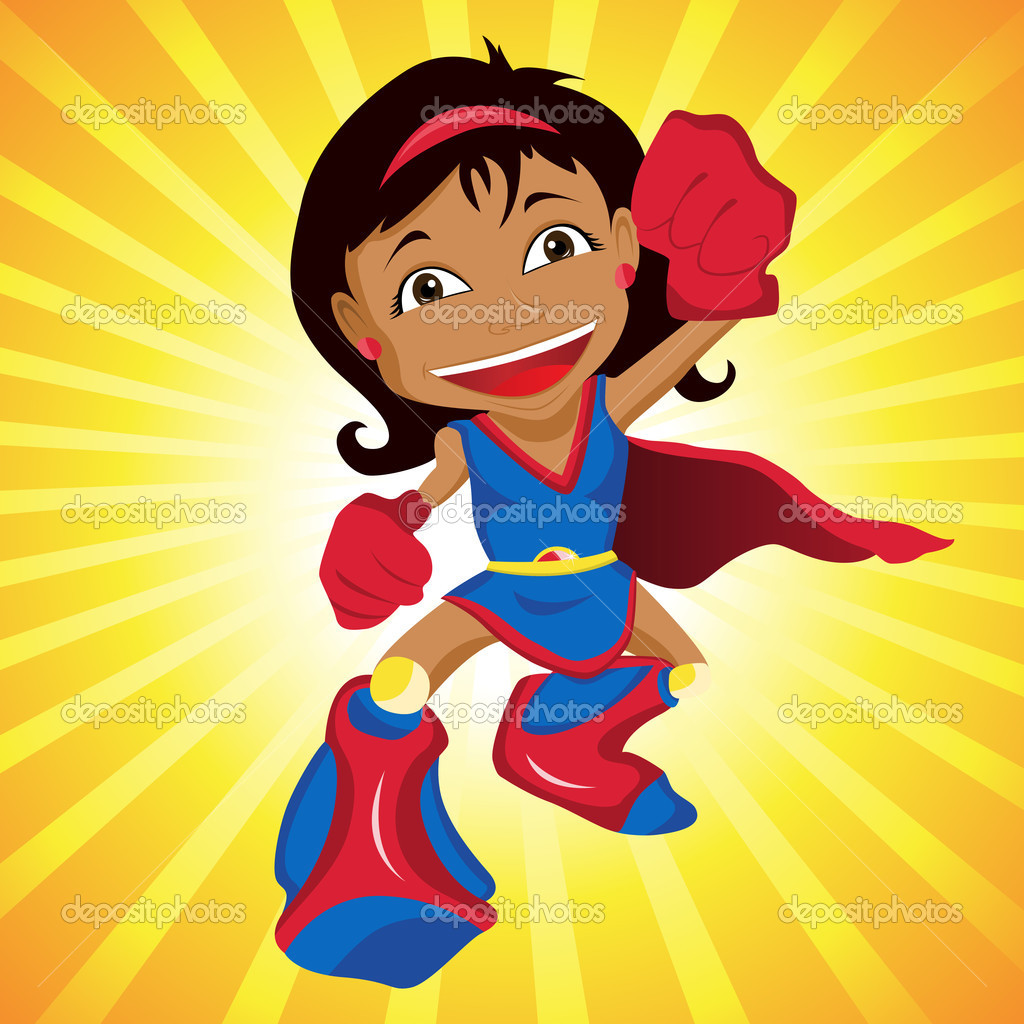 Black Super hero Girl. Editable Vector Illustration — Stock Vector #3351143