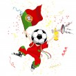 Portugal Soccer Fan with Ball Head. — Imagen vectorial
