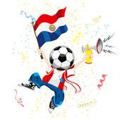 Paraguay fotbalový fanoušek s míč hlavou. — Stock vektor