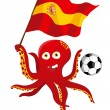Octopus Soccer Player Holding Spain Flag. — Stock Vector #3476784