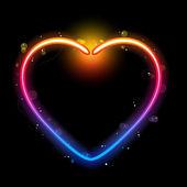 Borde del corazón del arco iris con destellos y remolinos. — Vector de stock