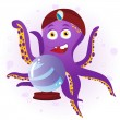 Octopus Fortune Teller with Crystal Ball. — Stock Vector
